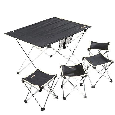 LJFYMX Mesa y sillas de Camping 4 sillas Conjunto terraza ...