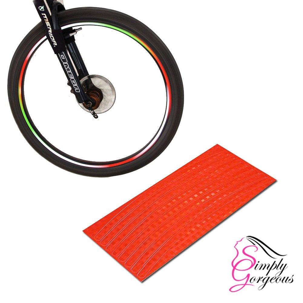 Bike BMX Car Rim Wheel Stickers Tape Reflectors - Neon red Simply Gorgeous