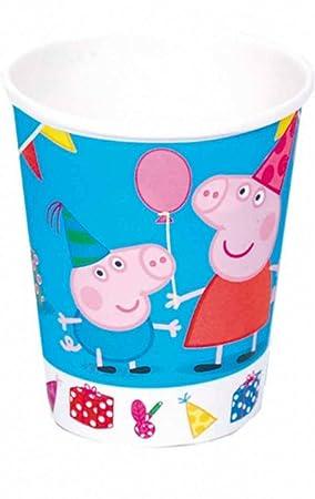 """Lote de 24 Vasos de Cartón Infantiles Decorativos""""Peppa Pig"""". Vajillas y Cuberterías"""