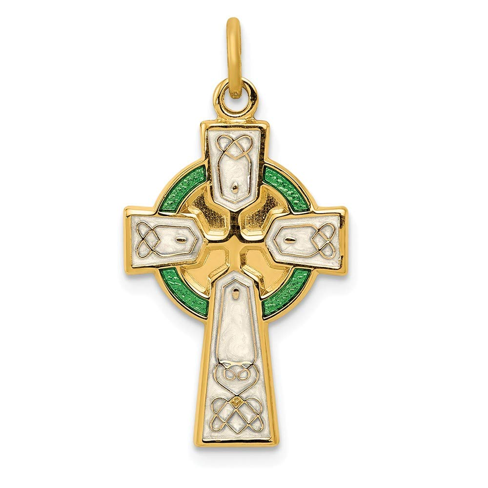 14mm x 23mm Sonia Jewels Sterling Silver Polished//Gold-Toned Epoxy Cross Pendant
