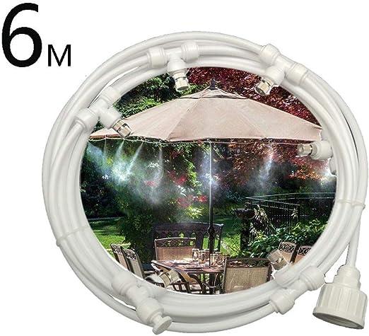 Kit de Sistema de Enfriamiento por Nebulización 6M, Sistema de Nebulizacion para Exteriores Terrazas Jardín Patio, Kits de Riego por Goteo con la Boquilla de Niebla 6pcs para Césped, Flor, Blanco: Amazon.es: