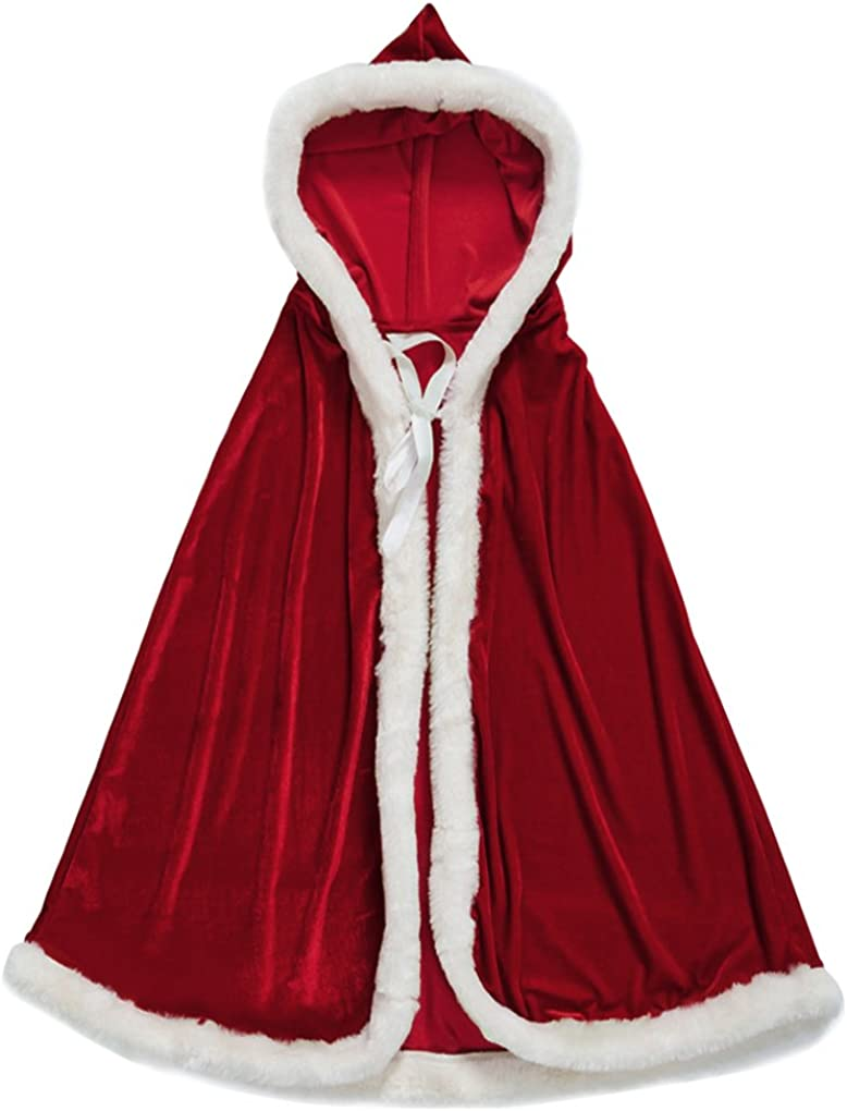 New Christmas Adult Ladies Cloak Cape Mrs Santa Claus Fancy Dress Costume