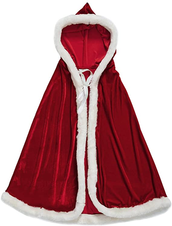 100cm Adult Kid Christmas Xmas Santa Claus Velvet Fur Hooded Cloak Cape Cosplay