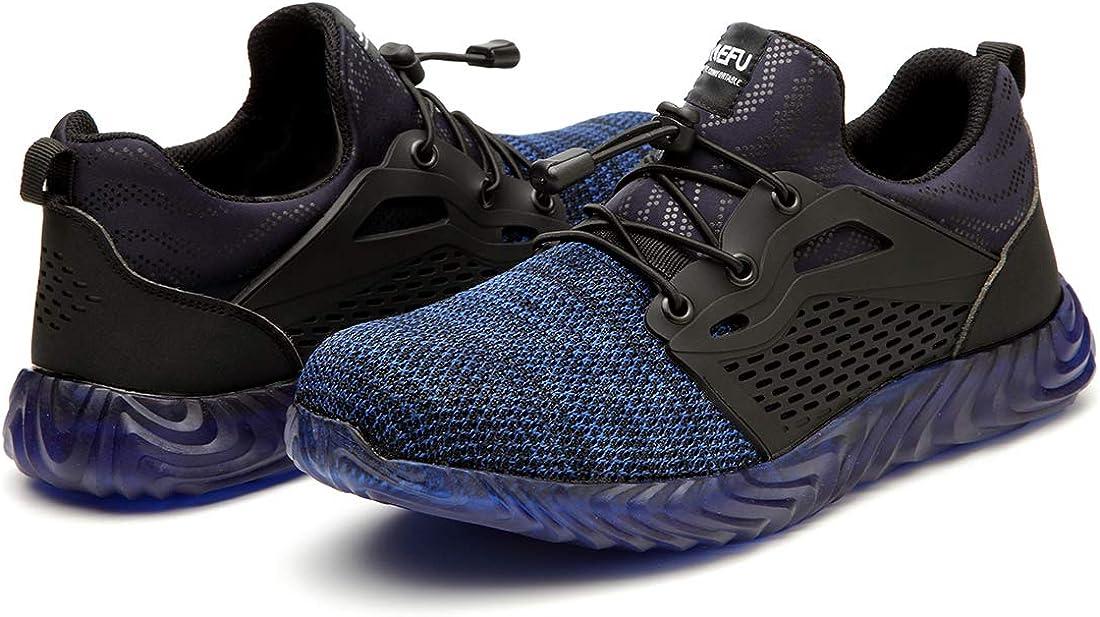 Zapatillas de Trabajo con Punta de Acero Ultra Liviano Suave y c/ómodo Industriales Transpirabl Zapatillas de Seguridad Hombres Mujer