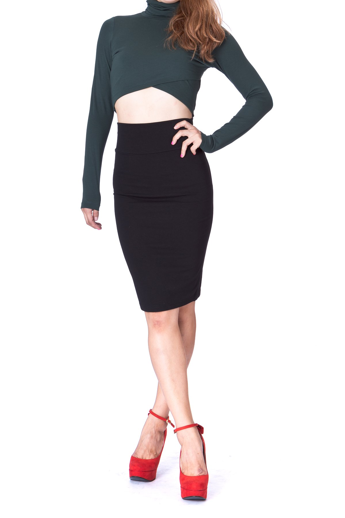 Dani's Choice Every Occasion Stretch Pull-on Wide High Waist Bodycon Pencil Knee Length Midi Skirt (L, Black)