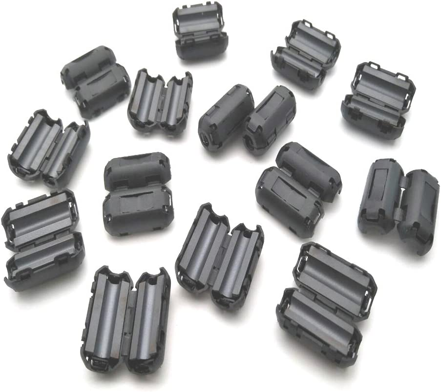 GFORTUN 15pcs Black Noise Suppressor Ferrite Core Filters Cable Clip Ring UF50B for 5mm Diameter Cable