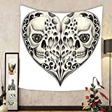 Gzhihine Custom tapestry Day Of The Dead Decor Tapestry Twin Half Fire Design in Hearts Festive Spanish Image Print for Bedroom Living Room Dorm 60 W X 40 L Cream and Black