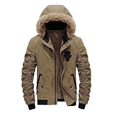 SUCES Herren Winter Warm Hooded Übergangsjacke Reißverschluss Dick Fleece  Mantel Bequem Baumwolle Jacke Männer Schlank Kapuze Winterjacke  Amazon.de   ... 971818a72d