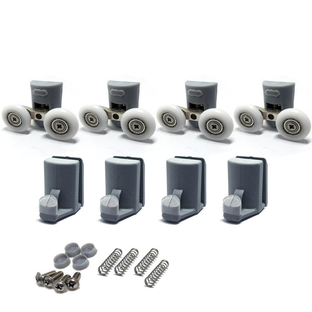 for The Bathroom Pan Glass Sliding Door Pulleys//Runners//Wheels,Strong Load-Bearing Capacity 8PCS x Shower Door Rollers ,Roller Diameter 19//22//23//25//27mm 4xTop + 4xBottom Ultra-Quiet,CY902AB-8PCS