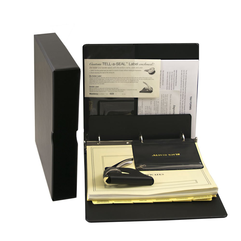Blumberg Black Beauty Corporate Kit with Records Binder, Corporate Seal, Certificates with Stubs, Blank Minute Paper and More