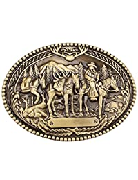 Vintage Horse Belt Buckle Western Cowboy Native American Motorcyclist (HRS-11)