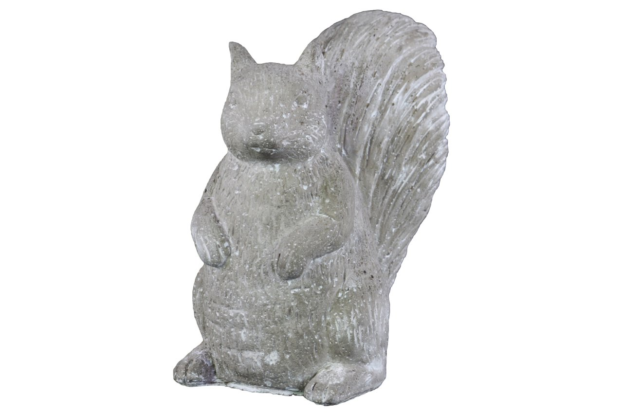 Urban Trends Cement Standing Squirrel Figurine with Washed Concrete Finish, White