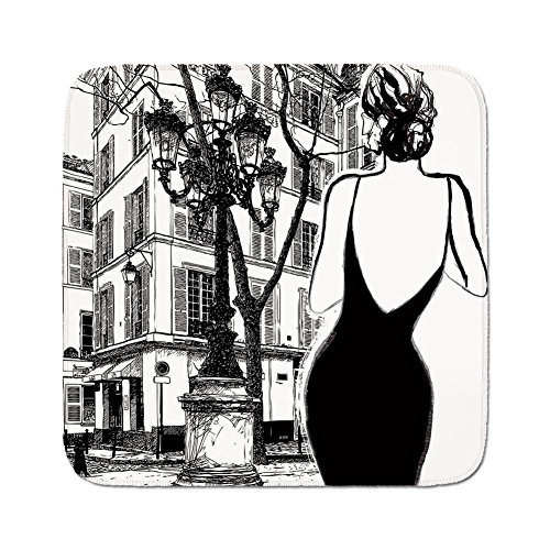 Cozy Seat Protector Pads Cushion Area Rug,Paris City Decor,Young Elegant Woman in a Black Dress in Paris Street Old Building Facade Cityscape,Easy to Use on Any Surface (In Black Ashley Dress)