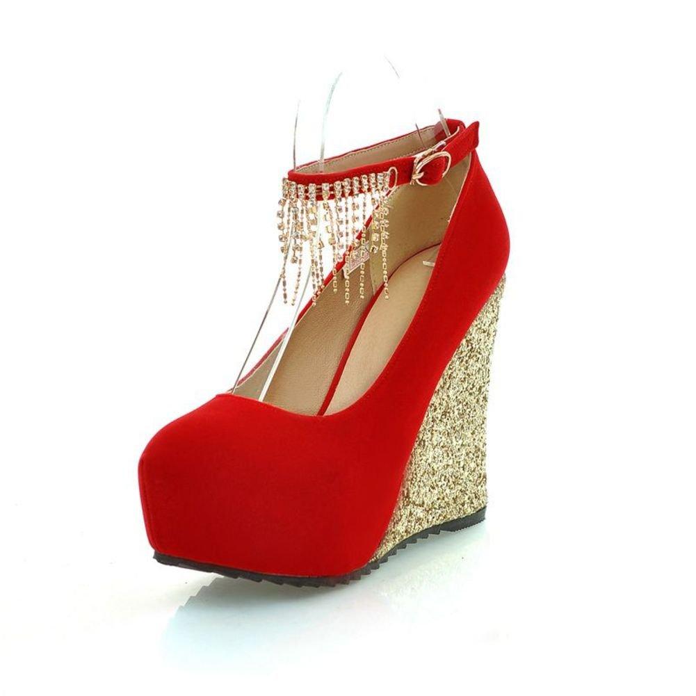 Europa und Pailletten Quaste Strass Hochzeit Schuhe Wedges Wasserdichte Schuhe der Frauen