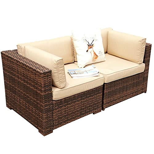 Super Patio Loveseat, 2 Piece Outdoor Furniture Set, All Weather Wicker Corner Sofas Love Seat Thick Beige Cushions, Steel Frame, Brown