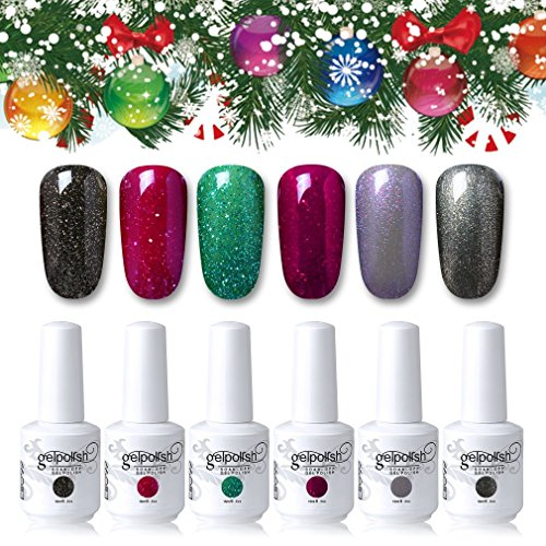 Elite99 Gel Nail Polish Soak Off UV LED Gel Polish 15ML Gift Set with 5PCS Nail Stickers