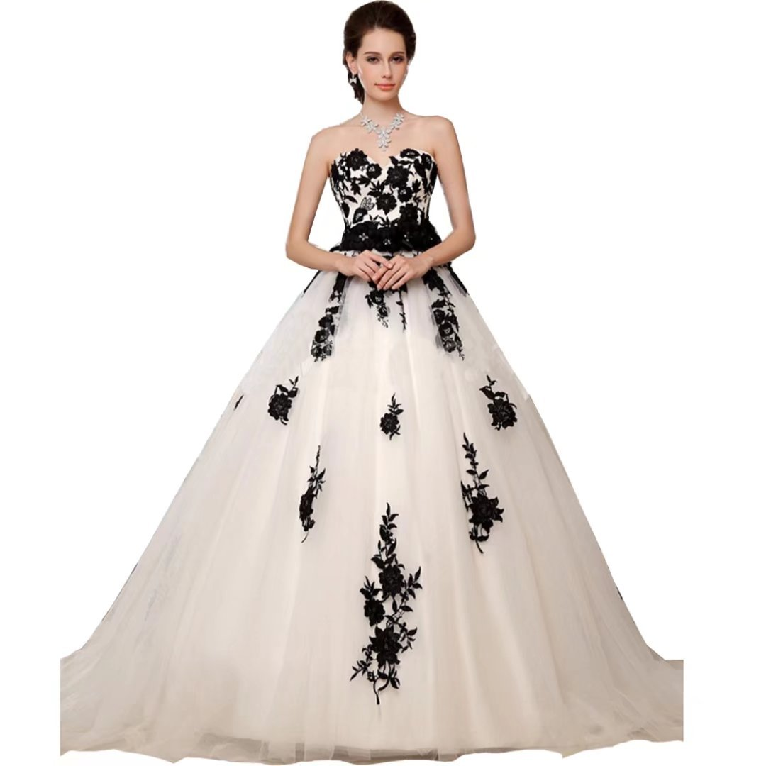 Chady Black And White Lace Vintage Wedding Dresses Plus Size 2017