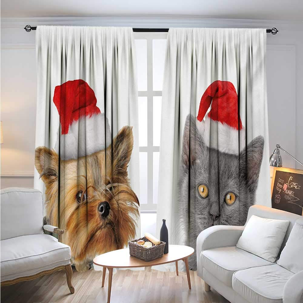 BlountDecor ChristmasBlackout DrapesAdorable Cat and Dog with Xmas Hats Domestic Pet Animals Holiday CelebrationCover The Sun W96 x L108 Orange Grey Red
