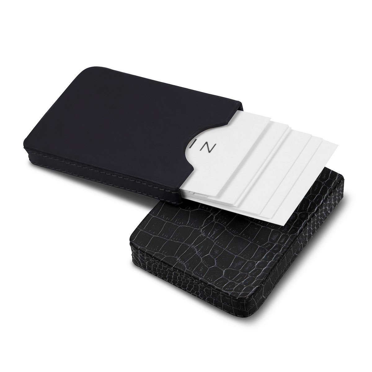 Lucrin - Sliding two-parts case for business cards - Black - Crocodile style calfskin