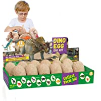 Dinosaur Eggs Dig Kit 12 Pack Discover 12 Different Dinos Easter Eggs Archaeology and Paleontology Toy Dino Egg…