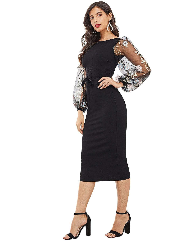647b500b5b15 Amazon.com: SheIn Women's Elegant Mesh Contrast Bishop Sleeve Bodycon  Pencil Dress: Clothing