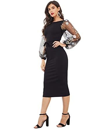 3d0ceb3425 SheIn Women's Elegant Mesh Contrast Bishop Sleeve Bodycon Pencil Dress  X-Small #Black