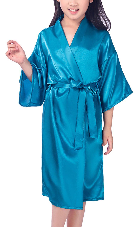 Dolamen Kid's Girl's Dressing Kimono Gown Kimono Robe, Silk Satin Pure Color Robe Bathrobe for Spa, Swimming Wedding Birthday Ages Nightwear Pyjamas