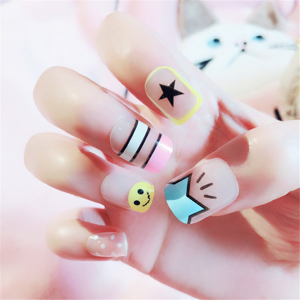 Nail Art Tip & Glue Cartoon Star Smile Pattern Artificiales uñas postizas Perfect Length Full Cover Beauty Art Decoration Manicura Pedicura para mujeres ...