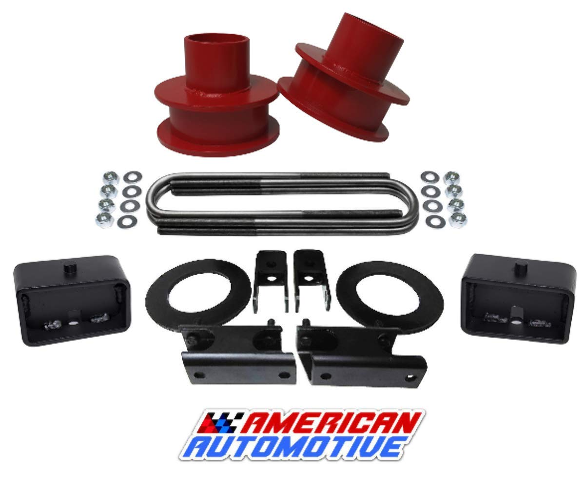Shock Extenders American Automotive F250 F350 Super Duty Lift Kit 4WD 3 Red Front Spring Spacers 3 Rear Blocks Sway Bar Drop Kit for Non-Overload Models