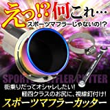 (トクトヨ)Tokutoyo 汎用 ステンレス マフラーカッター チタン焼き 真円型 ボルト付 約37mm~52mm適用 AB68