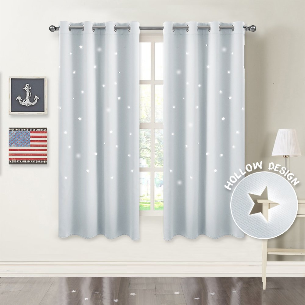 PONY DANCE Star Cutout Curtains - Grommet Top Bedroom Night Sky Wonder Star Hollow Out Blackout Curtains Drapes/Window Treatments Home Decor, 52 W by 63 L, Greyish White, Set of 2 Panels by PONY DANCE
