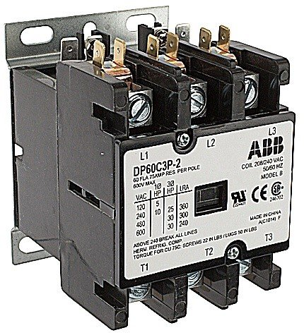 ABB, DP60C3P-F, 3 Pole, 60 Amps, 24VAC Coil, Definite Purpose Contactor