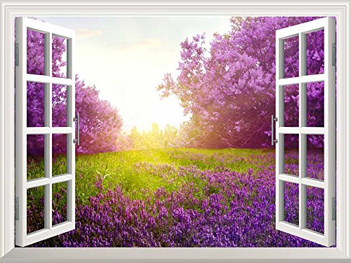 Removable Wall Sticker Wall Mural Majestic Purple Lavender and Trees out of the Open Window Creative Wall Decor