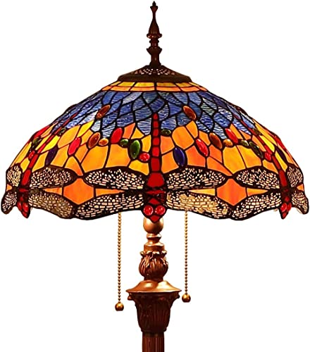 Bieye L10703 Dragonfly Tiffany Style Stained Glass Floor Lamp