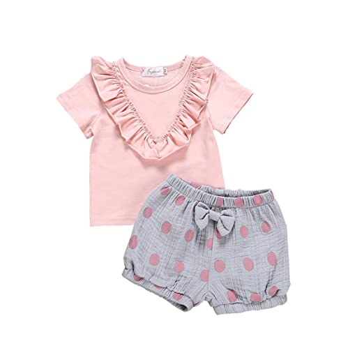 3236d542c Amazon.com  2 Pieces Cotton Newborn Baby Girls Ruffled Solid Color T ...