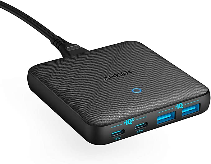 Amazon.com: USB C Fast Charger, Anker 63W 4 Port PIQ 3.0 & GaN Fast Charger Adapter, PowerPort Atom III Slim Wall Charger with Dual USB C Ports (45W Max), for MacBook, USB C Laptops, iPad Pro, iPhone, and More