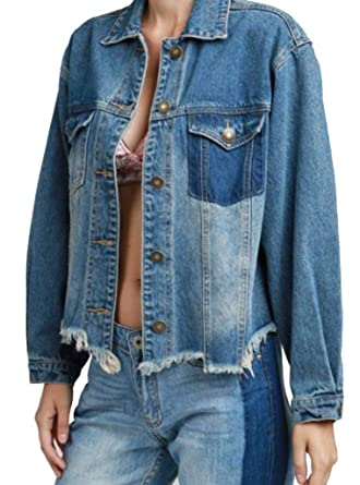 8f894188b31 POL Clothing Womens Distressed Denim Jacket with Raw Edge at Amazon Women's  Coats Shop