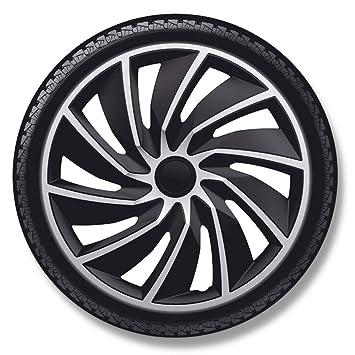 Autostyle Turbo - Juego de Fundas para Ruedas (13 Pulgadas), Color Plateado y Negro: Amazon.es: Coche y moto