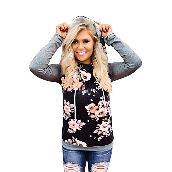 Big Women Short Hoodie Sweatshirt Daoroka Ladies Long Sleeve Floral Print O-Neck Autumn Winter