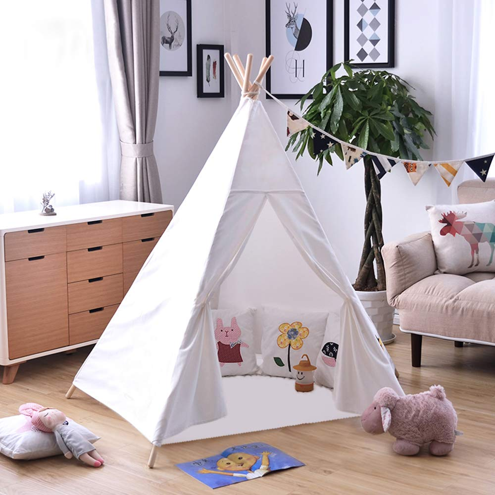 OUTREE Indoor Teepee Tent for Kids with 5 Wooden Poles and Carry Bag, Portable Canvas Tent, White