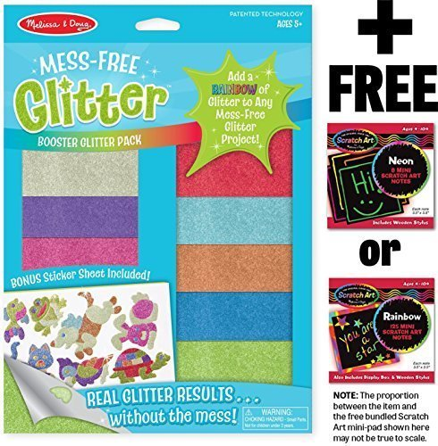 Booster Glitter Pack: Mess Free Glitter Series + FREE Melissa & Doug Scratch Art Mini-Pad Bundle [95020]