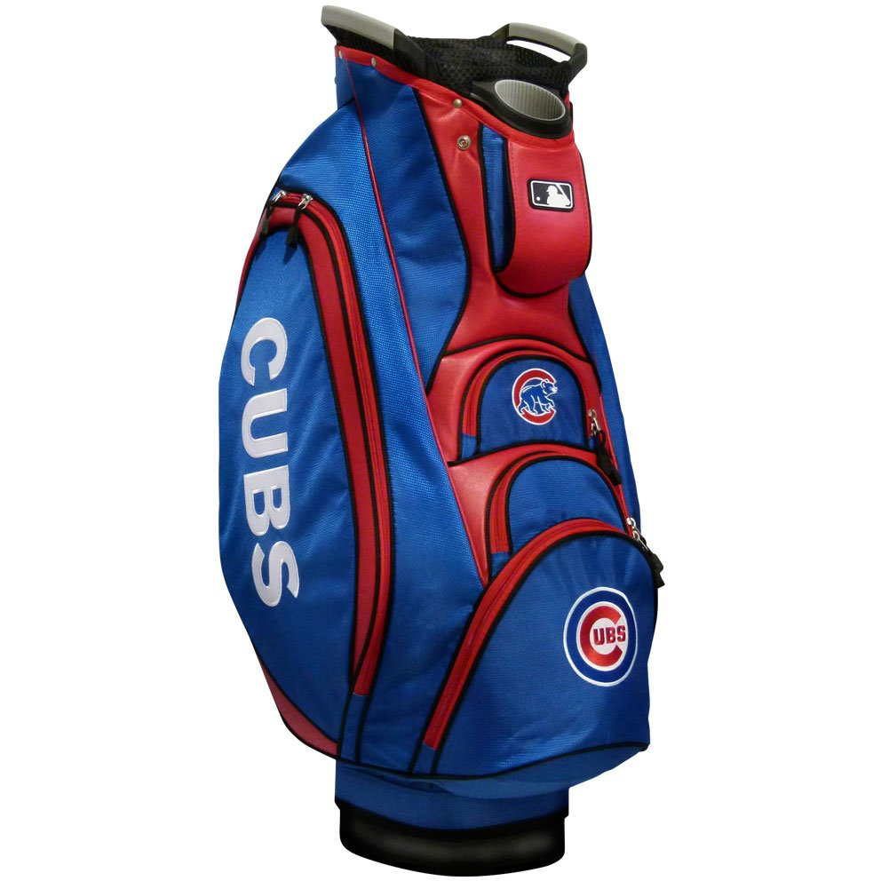 Team Golf MLB Chicago Cubs Victory Golf Cart Bag, 10-way Top with Integrated Dual Handle & External Putter Well, Cooler Pocket, Padded Strap, Umbrella Holder & Removable Rain Hood