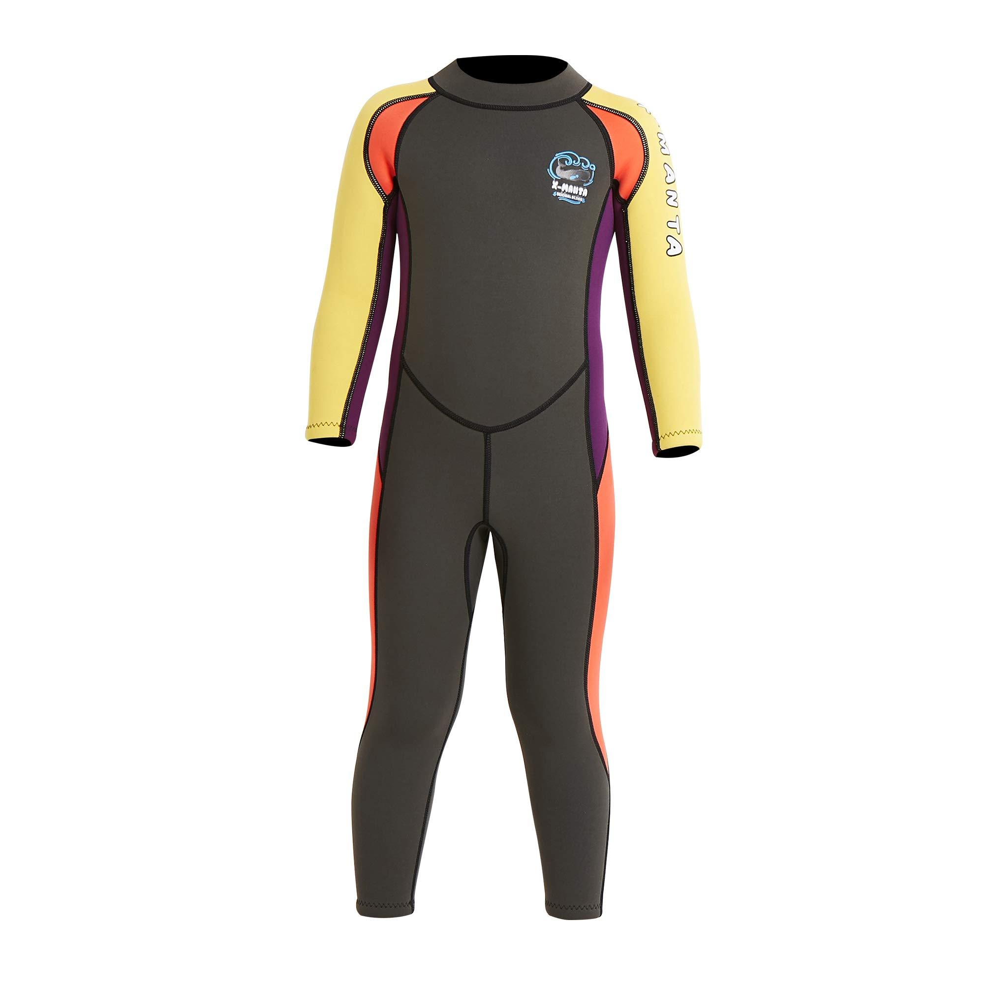 dark lightning Kids Wetsuit Full Thermal Suit, Boys Neoprene One Piece Fishing Suits, 2mm Long Sleeve Swimsuit for Children Scuba Diving, Surfing, Paddling, Swimming, Grey,S Size by dark lightning
