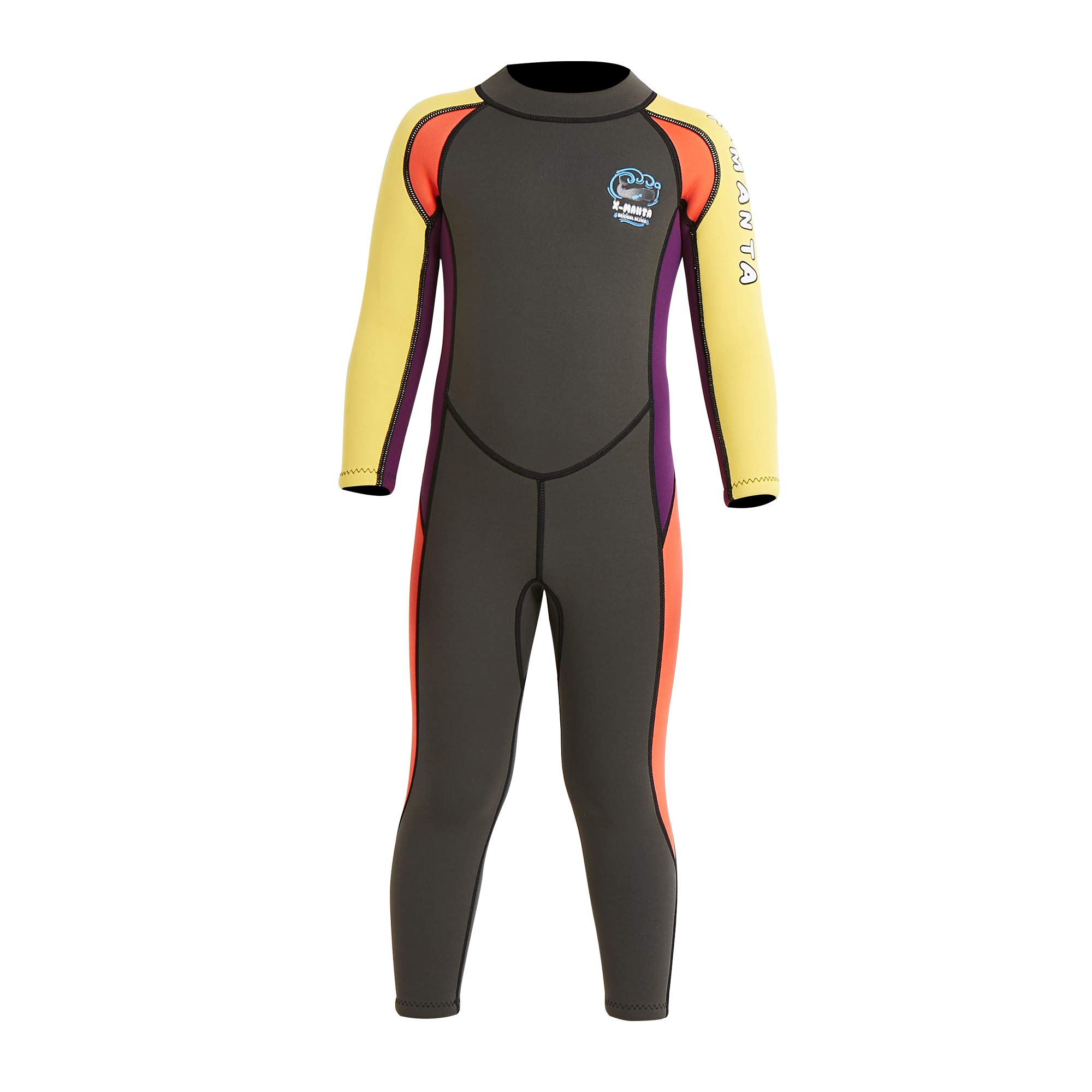Dark Lightning Kids Wetsuit Full Thermal Suit, Boys Neoprene One Piece Fishing Suits, 2mm Long Sleeve Swimsuit for Children Scuba Diving, Surfing, Paddling, Swimming, Grey,S Size