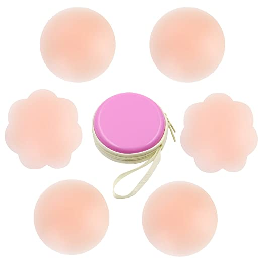 Techfeed Women's Nippleless Cover Reusable Adhesive Silicone Nipple Covers, 3 Piece