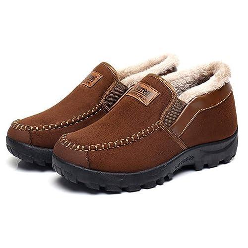 Zapatillas de casa para Hombre Botas Fluff Antideslizantes Invierno Mocasín de imitación de Zapatillas de conducción Pantuflas Casa Algodón: Amazon.es: ...