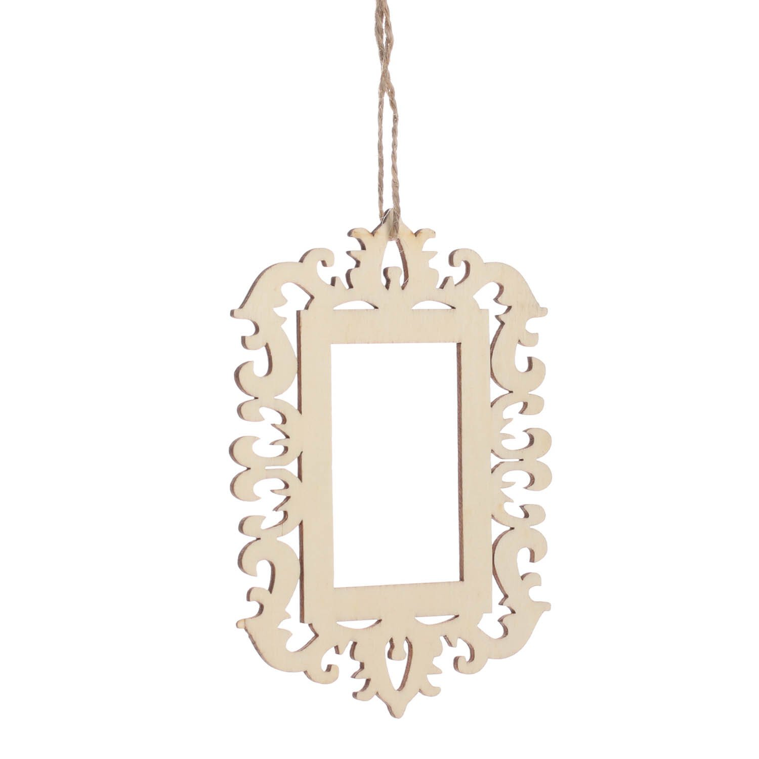 Factory Direct Craft Unfinished Wood Laser Cut Photo Frame Ornaments with Jute Hanger - 12 Ornaments …
