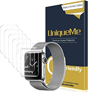 [6 Pack] UniqueMe for Apple Watch Series 1/2/3 (38mm Compatible) Screen Protector, [Bubble-Free] Soft HD Clear Flexible Film with Lifetime Replacement Warranty