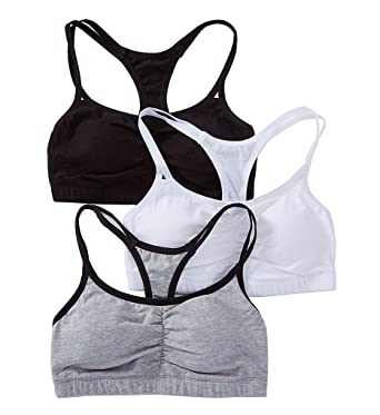 cdcfb4b80b Fruit of the Loom Spaghetti Strap Removable Pads Bra - 3 Pack (9036RP)  44 Grey White Black  Amazon.in  Clothing   Accessories