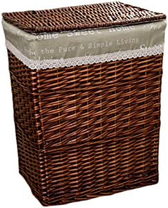 Rattan Laundry Basket Portable with Lid Dirty Hamper Bedroom Clothes Sundries Storage Basket Brown (Size : 312638cm)